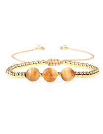 Fashion Yellow Faceted Tiger Eye Braided Copper Plated Gold Bead Bracelet
