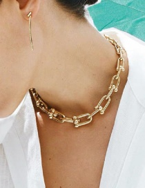 Fashion Golden U-shaped Thick Chain Hollow Alloy Sweater Chain