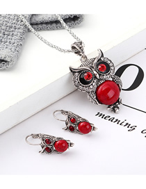 Fashion Red Owl Diamond Earrings Necklace Set  Alloy