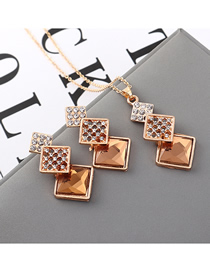 Fashion Coffee Geometric Square Diamond Earrings Necklace Set  Alloy