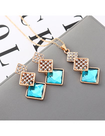 Fashion Sea Blue Geometric Square Diamond Earrings Necklace Set
