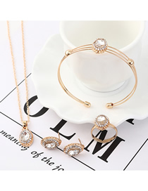Fashion White Crystal Glass Earrings Necklace Bracelet Set  Alloy