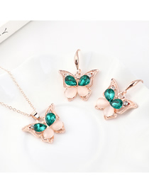 Fashion Gold Small Butterfly Diamond Earrings Necklace Set  Alloy