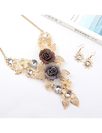 Fashion Gold Flower Diamond Earrings Necklace Set