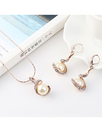 Fashion Gold Spiral Pearl Diamond Earrings Necklace Set  Alloy