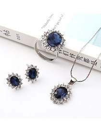 Fashion Silver Sun Flower Diamond Earrings Necklace Ring Set  Alloy