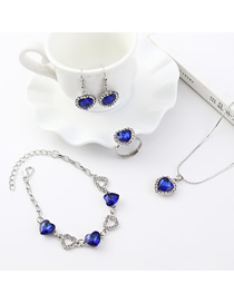 Fashion Silver Small Love Diamond Earrings Necklace Bracelet Set  Alloy