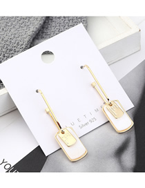 Fashion 14k Gold Plated Gold U-shaped Tag Shell S925 Silver Needle Earrings