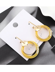 Fashion Yellow Gold Plated Double Circle Cutout S925 Silver Needle Earrings