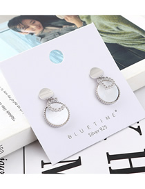 Fashion Platinum Plated Gold Cd Letter Disc S925 Silver Needle Earrings