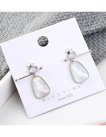 Fashion Platinum Plated Gold Small Star Glass S925 Silver Needle Earrings