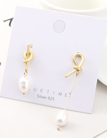 Fashion Gold Plated Gold Asymmetric Pearl S925 Silver Needle Earrings