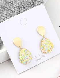 Fashion Gold Plated Gold Spotted Heart S925 Silver Needle Earrings