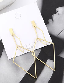 Fashion Gold Plated Gold Inverted Triangle Hollow S925 Silver Needle Earrings