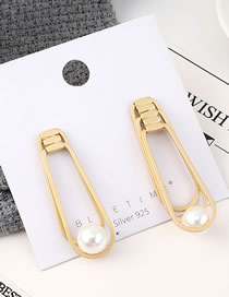Fashion Gold Plated Gold Cutout Pearl S925 Silver Needle Earrings