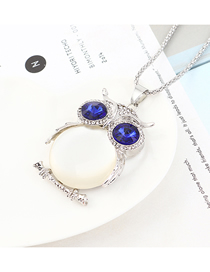 Fashion Platinum + White Owl With Diamond Necklace
