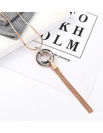 Fashion Champagne Gold Diamond Circle Tassel Necklace