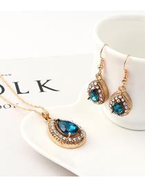 Fashion Blue Diamond Heart Necklace Earring Set