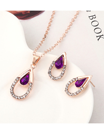 Fashion Purple Diamond Heart Necklace Earring Set