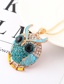 Fashion Blue Diamond Owl Head Necklace