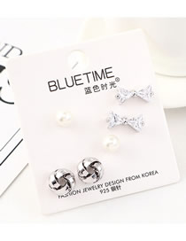 Fashion Silver Plated Gold-plated Bow Pearl S925 Silver Needle Earrings Set