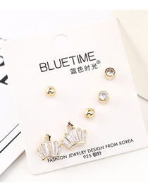 Fashion Gold Big Plate Gold Plated Small Crown S925 Silver Needle Earrings Set