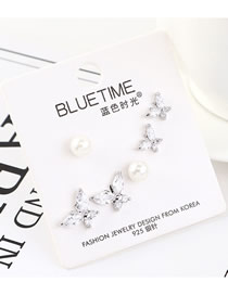 Fashion Silver Plated Gold-size Butterfly Pearl S925 Silver Needle Earrings Set