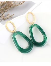 Fashion Green Plated Gold Ring Cutout S925 Silver Needle Earrings (green)