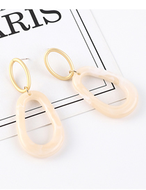 Fashion Beige Plated Gold Ring Cutout S925 Silver Needle Earrings (white)
