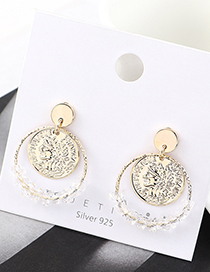 Fashion Golden Real Gold Plated Head Seal Large Circle Hollow S925 Silver Pin Earrings