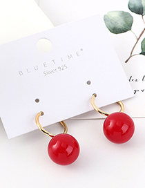 Fashion Red Gold-plated Large Ball Earrings