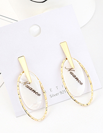 Fashion Golden Real Gold Plated Resin Letter Oval S925 Silver Pin Earrings