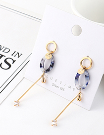 Fashion Golden Real Gold-plated Fringed Small Oval Cutout S925 Silver Pin Earrings