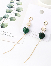 Fashion Golden Real Gold-plated Tassel Careful Heart Pearl S925 Silver Pin Earrings
