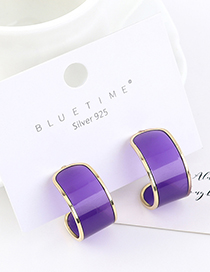 Fashion Purple Real Gold-plated Half Moon S925 Silver Pin Earrings