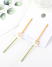 Fashion Golden Real Gold-plated Resin Tassels Small Root S925 Silver Pin Earrings