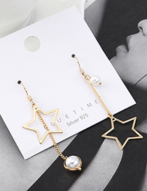 Fashion Golden Gold-plated Small Five-star Fringed Pearl Earrings