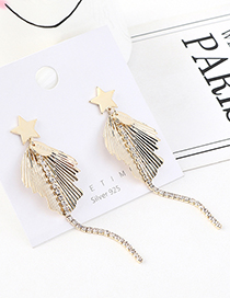 Fashion Golden Real Gold-plated Little Star Tassel S925 Silver Pin Earrings