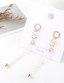 Fashion 14k Gold Small Circle With Tassel Earrings