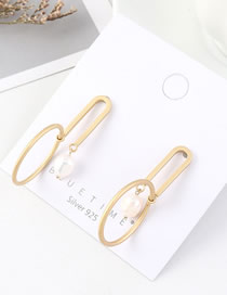 Fashion 14k Gold Pearl Cutout Circle Earrings