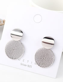 Fashion Platinum Reticulated Round Disc Earrings