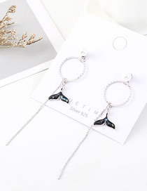 Fashion Platinum Pearl Tassel Circle Tail Fin Earrings