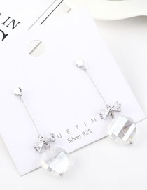 Fashion Platinum Glass Bead Tassel With Diamond Bow Earrings