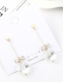 Fashion 14k Gold Glass Bead Tassel With Diamond Bow Earrings