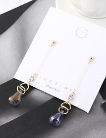 Fashion 14k Gold Glass Bead Diamond Tassel Earrings