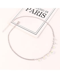 Fashion Color White Austrian Crystal Geometric Necklace