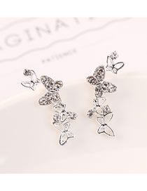 Fashion Platinum Diamond Cutout Butterfly Earrings