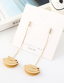 Fashion Golden Gold-plated Fringed Geometric Earrings