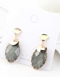 Fashion Dark Gray Gold-plated Crystal Geometric Earrings