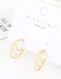 Fashion Golden Gold-plated Small Crescent Cutout Earrings